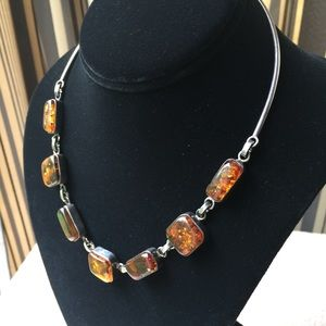 Sterling silver necklace with amber